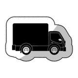 de zwart-wit vrachtwagen van het stickervervoer met wagen en wielen Stock Afbeeldingen