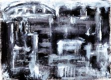 De zwart-witte abstracte stad met huizen, silhouetten, kolommen, brug schilderde met borstelsbeeld stock fotografie