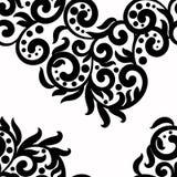 De zwart-witte achtergrond, het vectorornament van de kanttextuur, golvende naadloze patroon zwart-wit wervelingen, punten, gaat  royalty-vrije illustratie
