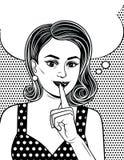 De zwart-witte affiche in grappige kunststijl van een aantrekkelijk meisje houdt haar wijsvinger dichtbij haar lippen royalty-vrije illustratie
