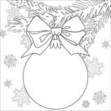 De zwart-witte affiche van het Kerstmisthema met boomtak, decoratie, lint en sneeuwvlokken Royalty-vrije Stock Foto
