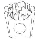 De zwart-witte affiche van het het snelle voedselpictogram van frietenspaanders Royalty-vrije Stock Foto