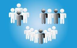 De zwart-witte Blauwe achtergrond van groeps mensen pictogrammen, illustratie - vector vector illustratie