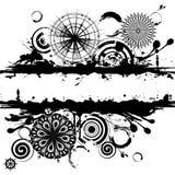 De zwart-witte cirkels vatten vierkante achtergrond samen Stock Afbeelding