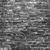 De zwart-witte donkere achtergrond van de grungebakstenen muur, Stock Foto's