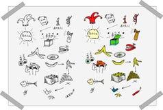 De zwart-witte en kleurrijke geplaatste krabbels van de Dwaas` s dag Royalty-vrije Stock Foto