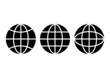 De zwart-witte geplaatste pictogrammen van de bolaarde Vector stock illustratie