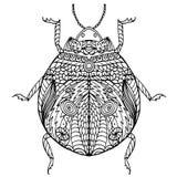 De zwart-witte getrokken hand zentangle stileerde insect Royalty-vrije Stock Afbeeldingen