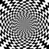 De zwart-witte Golvende Lijnen snijden in het Centrum De Visuele Illusie van Beweging Geschikt voor textiel, stof, die verpakken  stock illustratie