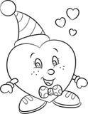 De zwart-witte illustratie van een leuk klein jongen-hart, perfectioneert voor de kleuringsboek van kinderen of Valentijnskaarten vector illustratie