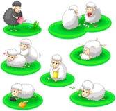 De zwart-witte inzameling van de schapenactiviteit plaatste (vec Stock Afbeeldingen