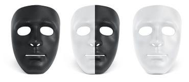 De zwart-witte inzameling van masker isoleert Stock Fotografie