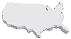 De zwart-witte kaart van de Staat van de V.S. 3D Royalty-vrije Stock Afbeeldingen
