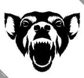 De zwart-witte lineaire verf trekt hond vectorillustratie Royalty-vrije Stock Foto