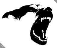De zwart-witte lineaire verf trekt hond vectorillustratie Royalty-vrije Stock Fotografie