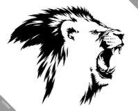 De zwart-witte lineaire verf trekt leeuw vectorillustratie Stock Foto's