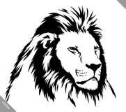 De zwart-witte lineaire verf trekt leeuw vectorillustratie Stock Afbeeldingen