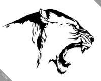 De zwart-witte lineaire verf trekt leeuw vectorillustratie Royalty-vrije Stock Fotografie
