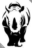 De zwart-witte lineaire verf trekt rinoceros vectorillustratie Stock Afbeelding