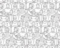 De zwart-witte Mensen verdringen zich Naadloze Achtergrond Stock Afbeelding