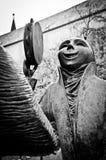 De zwart-witte Musicus Sculpture van Luxemburg royalty-vrije stock afbeeldingen