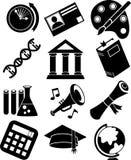 De Zwart-witte Pictogrammen van het onderwijs - Stock Afbeeldingen