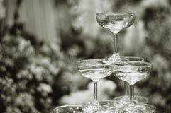 De zwart-witte regeling van het champagneglas in piramidevorm Stock Foto's
