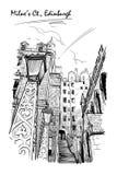 De zwart-witte schets van het Milneshof royalty-vrije illustratie