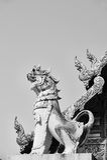 De zwart-witte Thaise fijne kunst van dieren in Mythologie op Royalty-vrije Stock Afbeeldingen