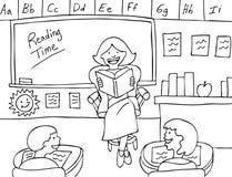 De zwart-witte Tijd van de lezing - Stock Foto's