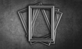 De zwart-witte uitstekende grijze achtergrond van het fotokader Stock Foto's