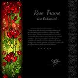 De zwarte achtergrond met abstracte bloemen nam patroon en wit deel voor uw tekst toe Royalty-vrije Stock Foto