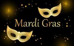 De zwarte achtergrond van Carnaval van mardigras met gouden maskers stock illustratie