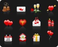 De zwarte achtergrond van de Dag van de valentijnskaart Royalty-vrije Illustratie
