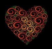 De Zwarte achtergrond van de Werveling van de Vorm van het hart Stock Afbeelding