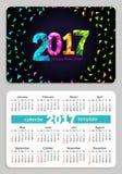 De zwarte achtergrond van de zakkalender 2017 Stock Afbeeldingen