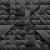 De zwarte achtergrond van het driehoeks geometrische naadloze patroon 3d ontwerp met eenvoudige druk Vormen en schaduwen Vector d royalty-vrije illustratie