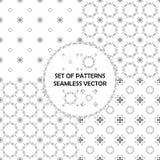 De zwarte achtergrond van het lijn naadloze patroon Retro groetkaart, prentbriefkaar met bloemen en kantornamenten, mooie uitnodi Stock Afbeeldingen