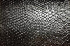 de zwarte achtergrond van de het patroontextuur van het snakeskin reptielleer royalty-vrije stock foto's