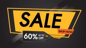De Zwarte Achtergrond van de verkoopbanner tot 60% van concept van het winkel het nu vlakke ontwerp, Eind van Seizoen, speciale a Stock Afbeelding