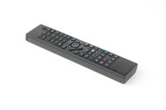 De zwarte afstandsbediening van TV die op wit wordt geïsoleerde Stock Foto's