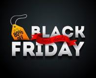 De zwarte Banner van de Verkoop van de Vrijdag Het vectorontwerp van het kortingsmalplaatje Black Friday-verkoop, reclame, market Stock Afbeelding