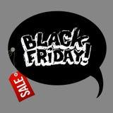 De zwarte banner van de vrijdag hand-drawn verkoop Vector Malplaatje royalty-vrije illustratie