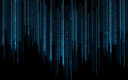 De zwarte blauwe binaire achtergrond van de systeemcode Stock Foto