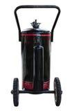De zwarte brandstoftank met wiel isoleert op witte achtergrond Stock Fotografie
