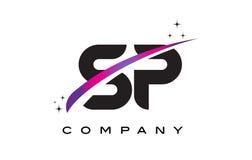 De Zwarte Brief Logo Design van SP S P met Purpere Magenta Swoosh vector illustratie