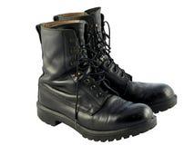 De zwarte Britse Laarzen van het Gevecht van de Kwestie van het Leger Stock Afbeeldingen