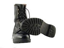 De zwarte Britse Laarzen van het Gevecht van de Kwestie van het Leger Royalty-vrije Stock Afbeeldingen