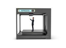 De zwarte 3d zakenman van de printer eindigende druk Royalty-vrije Stock Foto's