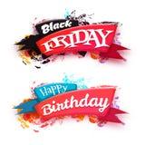 De zwarte die banner van de vrijdagverkoop met lint op witte achtergrond wordt geïsoleerd Royalty-vrije Stock Afbeelding